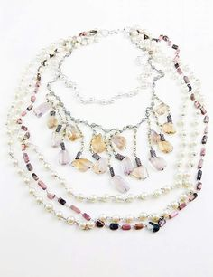 Orlov Jewellery-Multiline semiprecious stones Beaded Necklace, Stones, Jewellery, Collection, Beaded Collar, Rocks, Jewelery, Pearl Necklace, Jewlery