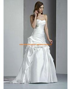 Elegante schicke Brautmode A-Linie aus Satin mit kurze Schleppe online kaufen 2013