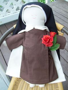 St. Therese of Lisieux Cloth Doll, available on Etsy, handmade.
