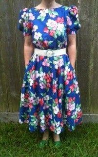 Retro 1980's Ladies Clothing Flower Garden Dress http://TheIDconnection.etsy.com  classic 80's fashion design & style