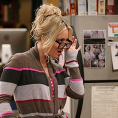 Aqua Cashmere Sweater - Multi Stripe Wrap Cardigan With Pockets and The Big Bang Theory - Worn by Penny (Kaley) in season 6 of TBBT. Briana Cuoco, Tbbt, Big Bang Theory Penny, Kaley Couco, Sexy Librarian, Wrap Cardigan, Himym, Cashmere Sweaters, Bigbang