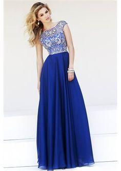 2015 Stunning Empire Bateau Chiffon Royal Blue Prom/Homecoming Dress with Beading
