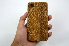 Custom designed, laser engraved bamboo iPhone case for the iPhone