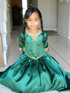 Brave Inspired Dress/Merida Costume/ Costume for Girl Sizes 6, 7, 8, 9. $85.00, via Etsy.