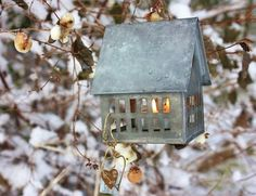 thesewould be great to hang by your kitchen window so you could see them covered in snow or frost in the winter Home Decor Inspiration, Garden Inspiration, Fire Pit Bbq, Tin House, Little Houses, All Things Christmas, Bird Houses, Lights, Outdoor Decor