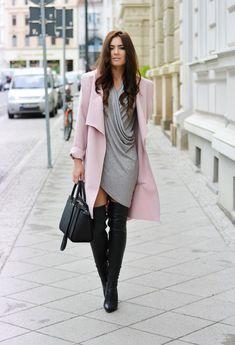 Pastel Coat and High Boots Outfit for Winter