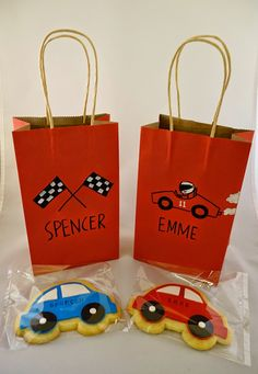 Race Car Goodie Bags With Custom Sugar Cookies