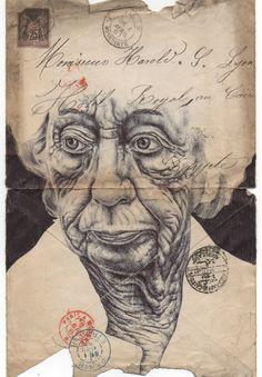 Portfolio - Mark Powell Biro Drawings - (Bic biro pen drawings on antiques envelopes, maps, and newspapers dating back to Biro Art, Ballpoint Pen Drawing, Pen Art, Mark Powell, Art Postal, Old Letters, Tumblr Art, Envelope Art, Creative Artwork