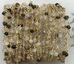 WHOLESALE 4.75 FEET Multi Rutile Faceted Rondelle by gemsforjewels