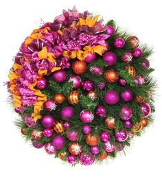 "Bright Christmas Wreath Pink and Orange Pine Holiday Wreath  (XL Approx 27"") SHATTERPROOF ORNAMENTS Indoor Outdoor"