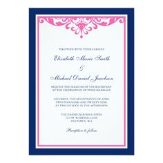 Navy Blue and Pink Flourish Wedding Invitations