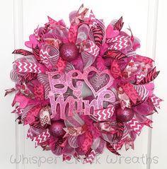 "Valentines Day Deco Mesh Wreath, ""Be Mine"" Valentines Day Wreath, Hot Pink, Chevron, Front Door Wreath Valentine, Valentines Day Decorations by WhisperCreekWreaths on Etsy"