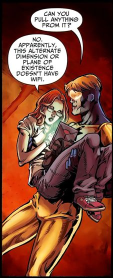 To Booster Gold, hell is just a place with no wifi. To Barbara Gordon, no wifi *is* hell. (JLA 80-Page Giant, 2011)