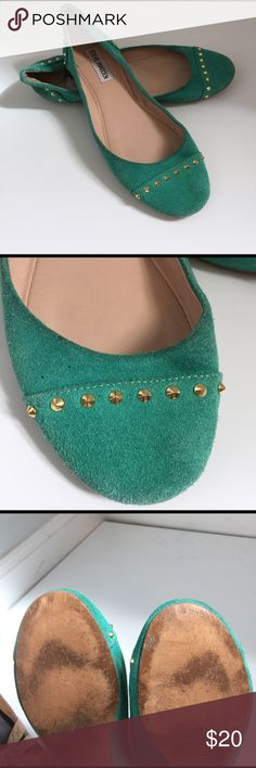 Suede Turquoise studded flat by Steve Madden These Steve Madden flats go with just about everything! They are turquoise suede with gold studs along the toe and around the back of the flat. I've gotten a lot of use of these and the sole shows where but have so much where left in them! They are absolutely beautiful and I've definitely loved them. Steve Madden Shoes Flats & Loafers