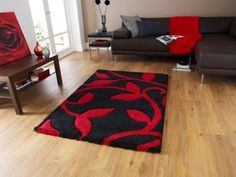 Extra-Thick-Soft-Shaggy-Black-Red-Mat-Floral-Design-High-Quality-Living-Room-Rug