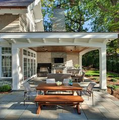 covered outside living idea Patio. Combination of open patio and covered patio with outdoor kitchen and outdoor fireplace. New Homes, Outdoor Living Space, Patio Design, Outdoor Kitchen Design, Patio Fireplace, Outdoor Kitchen, Cozy Backyard, Lake House Interior, Backyard Retreat