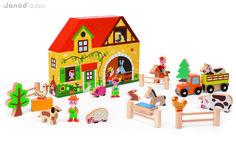 Praktisches und liebevoll gestaltetes Spielset Story-Box Bauernhof im Formkarton mit Tieren