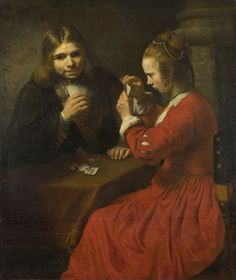 A Young Man and a Girl playing Cards  perhaps about 1645-50, Follower of Rembrandthis painting was in England and attributed to Rembrandt as early as 1775. Subsequently it has been thought to be by Nicolas Maes, who was in Rembrandt's studio in the years around 1650. This is not, however, entirely persuasive and, more recently, the work has been attributed to another Dordrecht painter, Cornelis Bisschop (1630 - 1674), who knew Maes's work well and imitated it. National gallery London