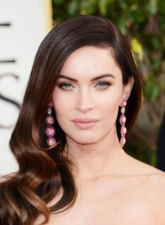 Golden Globe Celebrity Fashion 2013 - Megan Fox #earrings! pink!    Gorgeous pink sequined earrings with light peache gems in vertical design; it's simple statement piece with no necklace