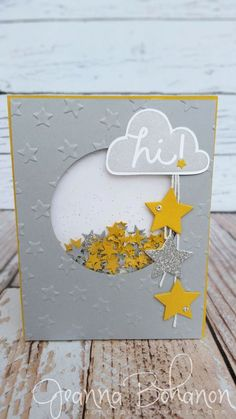 I Think You're Great #Stampin'Up! shaker card, Fancy Friday Sketch - Jeanna Bohanon