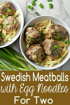 These Homemade Swedish Meatballs are tender, soft, and juicy, nestled on a bed of egg noodles and smothered in creamy savory brown gravy! The meatballs get their distinctive flavor from a bit of ground nutmeg and allspice. Use ground chicken or turkey as Cooking For Two, Batch Cooking, Cooking On A Budget, Cooking Chef, Cooking School, Cooking Light, Budget Meals, Easy Cooking, Healthy Cooking