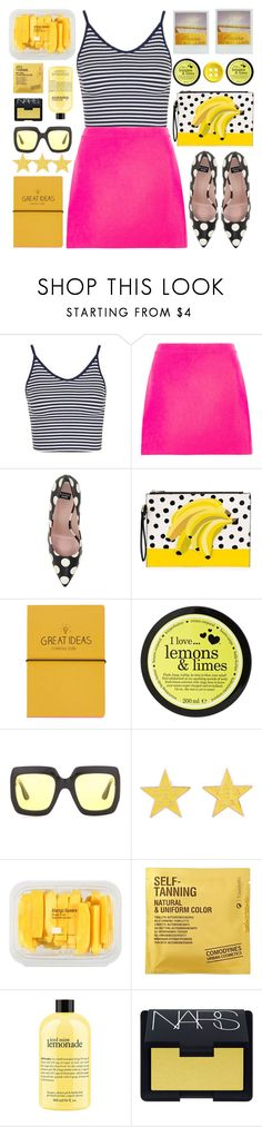 """Stripes, Dots and Colors"" by karineminzonwilson ❤ liked on Polyvore featuring Topshop, Versace, Boutique Moschino, I Love..., Gucci, Chanel, MANGO, Comodynes, philosophy and NARS Cosmetics"