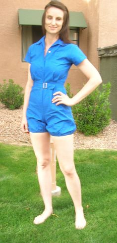 1950s Blue Moore Gym suit/ Romper by Cherrybombsvintage on Etsy, $85.00