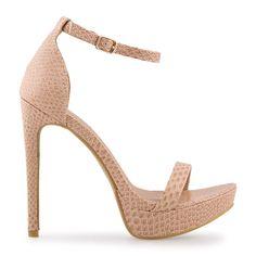 Nude Snake Patent Sandal - Shoes   YDE Nude Heels, Stiletto Heels, High Heels, South African Fashion, Toe Shape, Open Toe, Snake, Shoes Sandals, Footwear