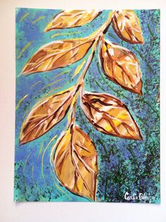 Fall Leaves Acrylic Painting  by CeceliaBlenkerStudio on Etsy, $15.00