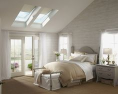 Double skylight, french door, neutral colors.