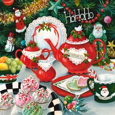Another Christmas painting of mine:  HoHoHo. Let's have Christmas Tea!