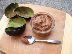 Chocolate Mousse: made w/avocado, cocoa powder, agave nectar (or raw honey), vanilla & coconut milk.