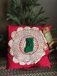 Primitive Christmas Stocking Pillow Tuck~ Olde Prairie Christmas~ Vintage Doily~ Vintage Stocking~ Christmas Decor~ Red Green by MrsVsPrims on Etsy