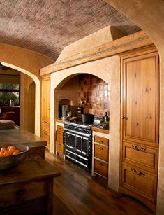Brick barrel-vaulted ceiling
