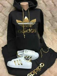 Adidas track suit - All About Black Dress Outfits, Swag Outfits For Girls, Cute Swag Outfits, Cute Comfy Outfits, Sporty Outfits, Teen Fashion Outfits, Stylish Outfits, Cute Addidas Outfits, Sweats Outfit
