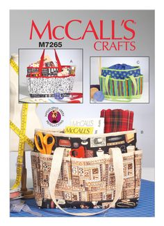 Sewing Pattern Project Tote Bags Pattern, Hobby Bag Pattern, Crafting Bag Pattern, McCall's Sewing Pattern 7265 by on Etsy Hat Patterns To Sew, Mccalls Sewing Patterns, Easy Sewing Patterns, Simplicity Sewing Patterns, Bag Patterns, Sewing Ideas, Pocket Pattern, Tote Pattern, Craft Bags
