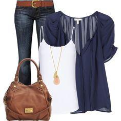 Navy blouse with dark wash denim