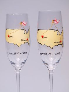 Sometimes you live in one place, but your heart is somewhere else. You are from different places, but something connects you. This is special design for people who are from different states or even countries.  These are 2 beautifully hand painted champagne flutes - Love from different places. Size 25 cl, crystal glass from Italy. Premium quality. Set of 2 peaces.    These can be perfect wedding toasting flutes or gift on Wedding anniversary. Also looks great on wedding photos. Each flute is…