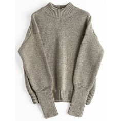 Loose Heathered Mock Neck Sweater Greyish Brown (€19) ❤ liked on Polyvore featuring tops, sweaters, brown top, loose fitting sweaters, brown sweater, loose tops and mock neck sweater