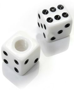 """Amazon.com : (2 Count) Cool and Custom """"Square Playing Dice with Easy Grip Design"""" Tire Wheel Rim Air Valve Stem Dust Cap Seal Made of Hardened Rubber {Snowy Bentley White and Black Colors - Hard Metal Internal Threads for Easy Application - Rust Proof - Fits For Most Cars, Trucks, SUV, RV, ATV, UTV, Motorcycle, Bicycles} : Sports & Outdoors"""