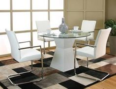 Nebraska Furniture Mart – Cramco 5-Piece White Hour Glass Base with White Chairs