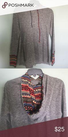 Print detail sweater hoodie Size medium. Not free people but unsure of brand Free People Tops Sweatshirts & Hoodies