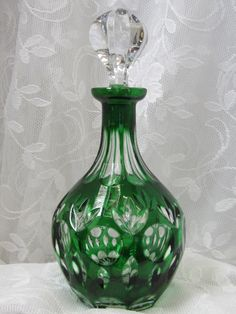 Vintage  Emerald Green Handmade Crystal Decanter by myabbiesattic, $109.99