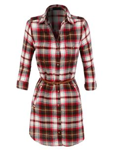 LE3NO Womens Lightweight Flannel Plaid Dress with Faux Leather Belt More at: http://livinglearningandloving.com/things-we-like-and-love/