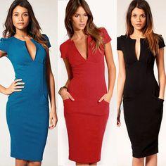 New Elegant Ladies V-Neck Fashion Celebrity Pencil Dress,Women Wear to Work Sliming Knee-Length Pocket Party Bodycon Dress S-XL on AliExpress.com. $18.99