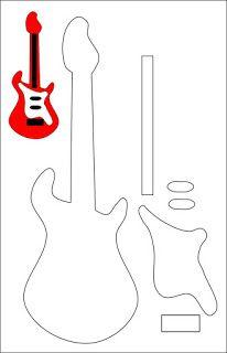 Molde de chaveiro de guitarra em feltro (passo a passo no blog) #artesanato #molde #handmade #craft #guitarra #feltro #costura #decor #chaveiro #marrispe