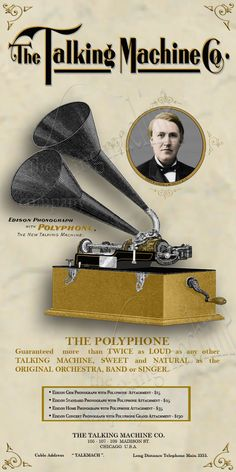 New Canvas Banner Advertising Edison Polyphone Phonograph Vintage Ads, Vintage Posters, Retro Ads, Vintage Images, Old Advertisements, Advertising, Radios, Edison Phonograph, Talking Machines