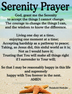 I share the Serenity Prayer with you. This prayer is common prayer for Celebrate Recovery, 12 Step Programs, and AA. Plus it is on the Christian faith-based Movie, Home Run. Prayer For Peace, Prayer For Today, Prayer For Family, Faith Prayer, God Prayer, Prayer For Change, Prayer For Meeting, Prayer For Happiness, Prayer Book