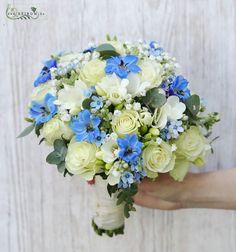 Menyasszonyi csokor (rózsa, frézia, delphinium, oxypetalum, rezgő, fehér, kék) (id: 11956) Dream Garden, Floral Wreath, Wreaths, Bridal Bouquets, Weddings, Blue, Decor, Floral Crown, Wedding Bouquets