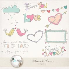 Clip Arts - Cute cliparts for scrapbooking, invites, card making, personal and commercial use - Sweet Love